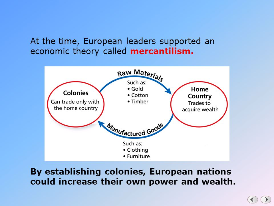 At the time, European leaders supported an economic theory called mercantilism.