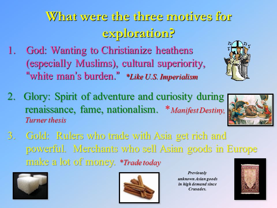 What were the three motives for exploration