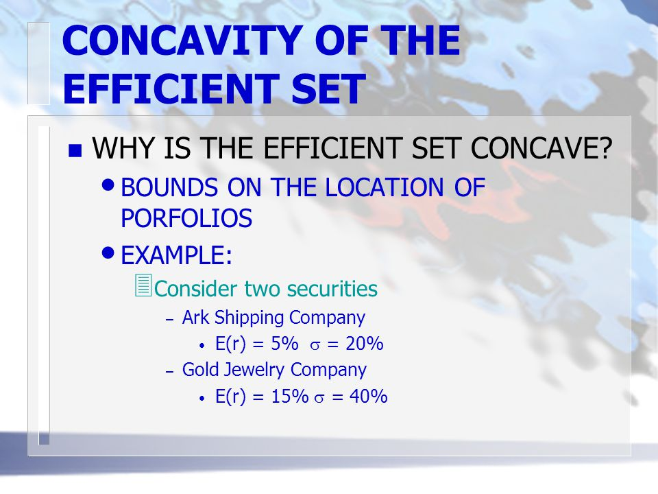 CONCAVITY OF THE EFFICIENT SET