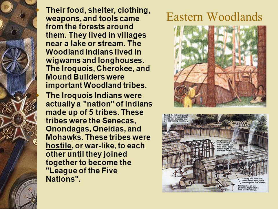 Their food, shelter, clothing, weapons, and tools came from the forests around them. They lived in villages near a lake or stream. The Woodland Indians lived in wigwams and longhouses. The Iroquois, Cherokee, and Mound Builders were important Woodland tribes.