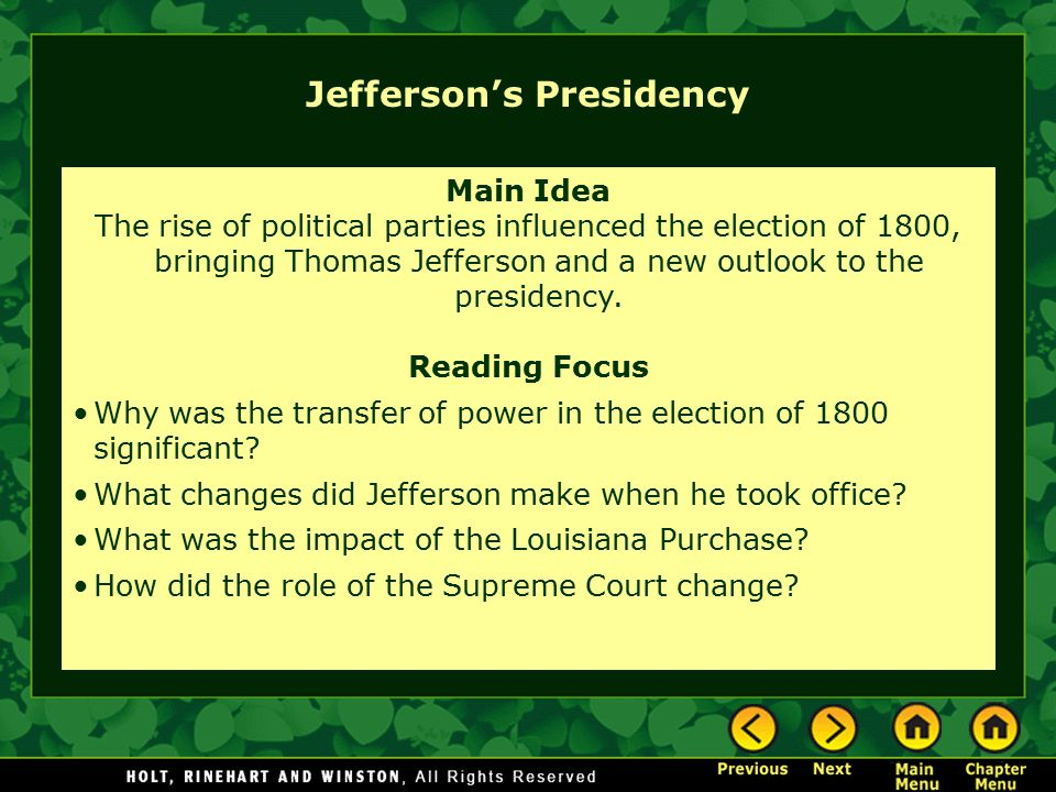 Jefferson's Presidency