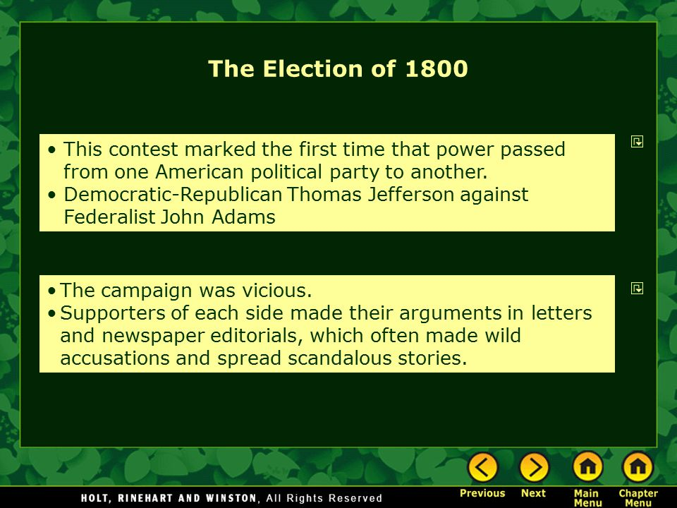The Election of 1800 This contest marked the first time that power passed from one American political party to another.