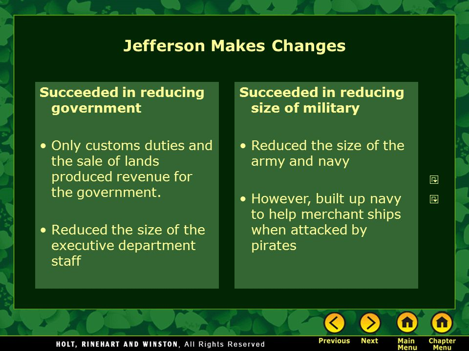 Jefferson Makes Changes
