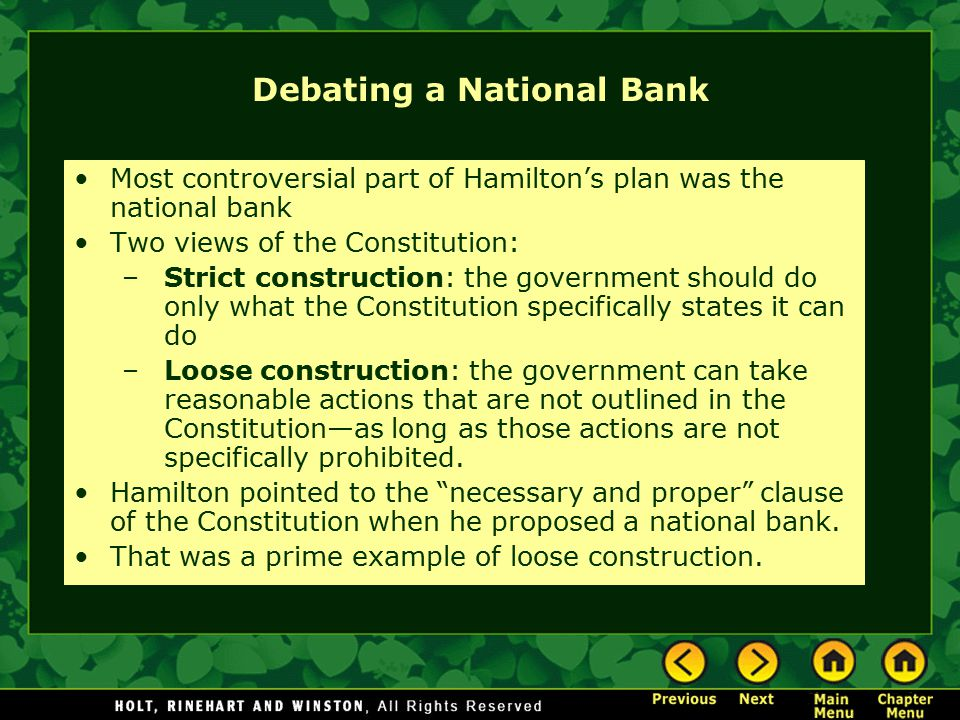Debating a National Bank