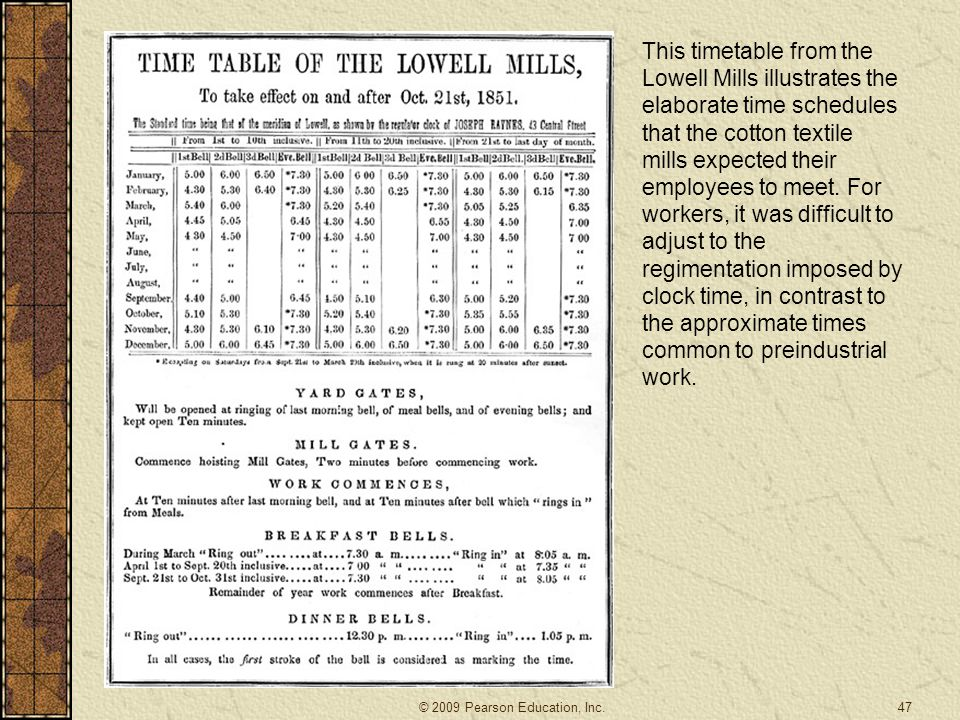 This timetable from the Lowell Mills illustrates the elaborate time schedules that the cotton textile mills expected their employees to meet. For workers, it was difficult to adjust to the regimentation imposed by clock time, in contrast to the approximate times common to preindustrial work.