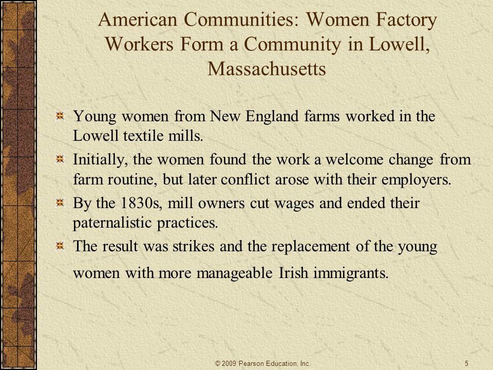 American Communities: Women Factory Workers Form a Community in Lowell, Massachusetts