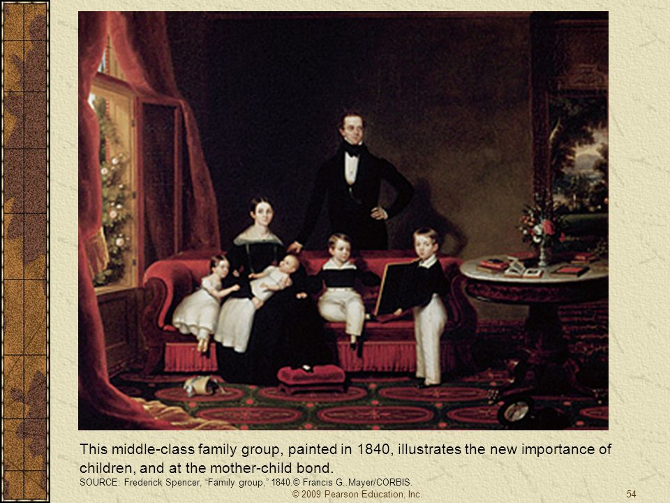 This middle-class family group, painted in 1840, illustrates the new importance of children, and at the mother-child bond.