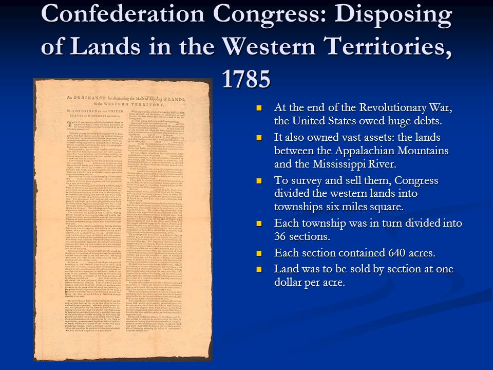 Confederation Congress: Disposing of Lands in the Western Territories, 1785