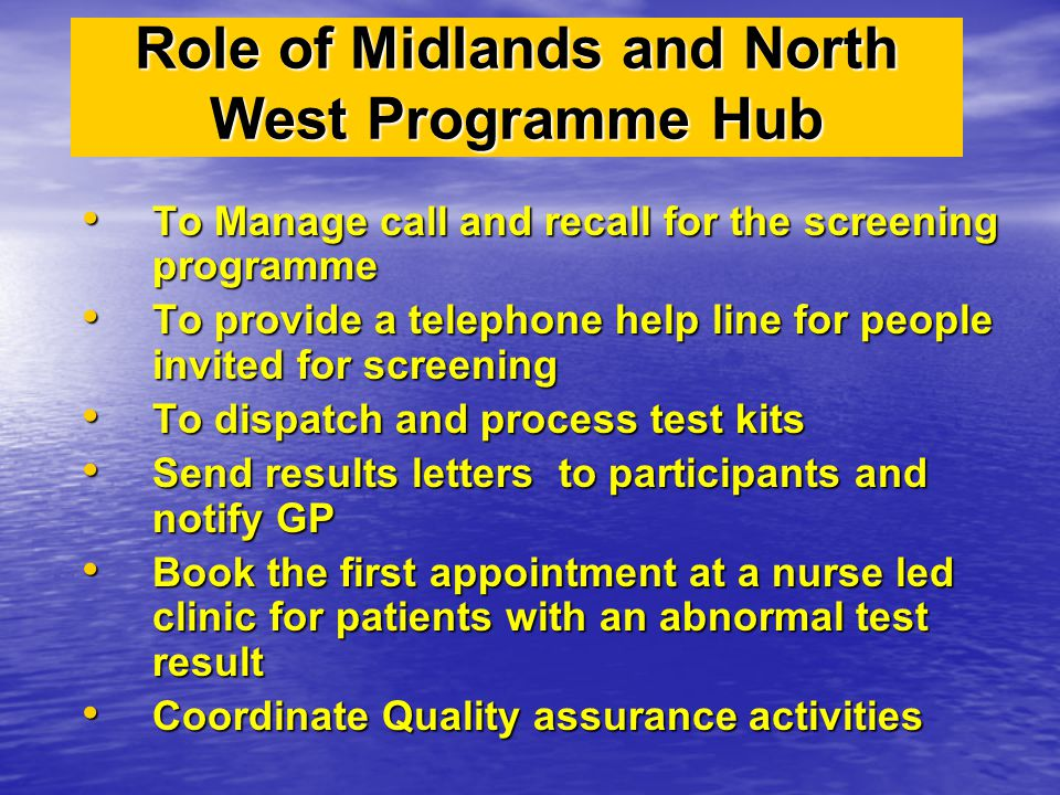 Role of Midlands and North West Programme Hub