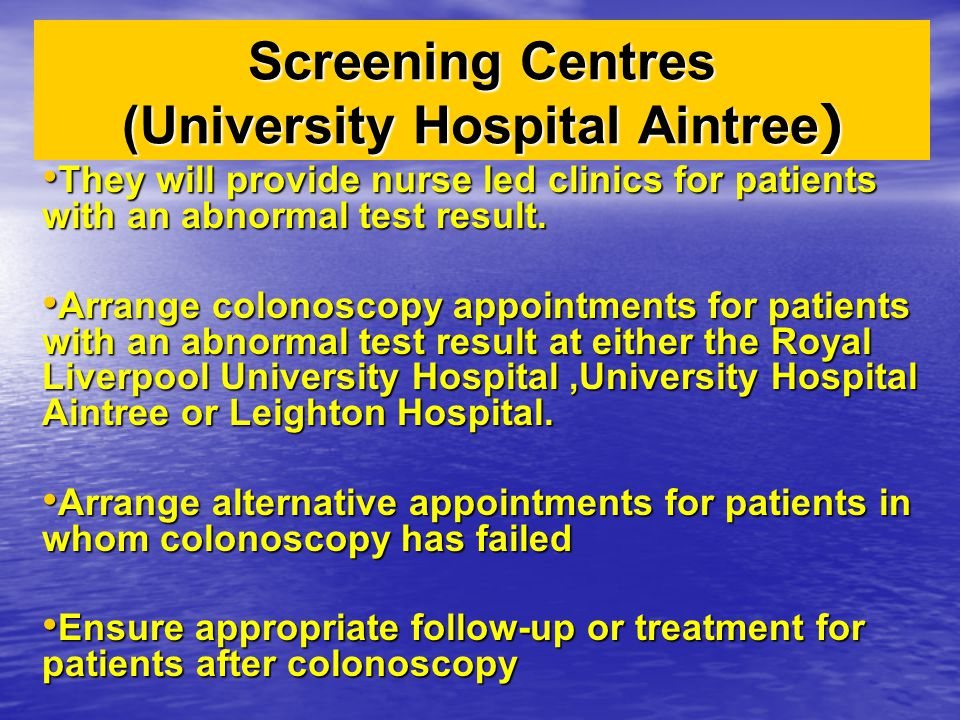 Screening Centres (University Hospital Aintree)