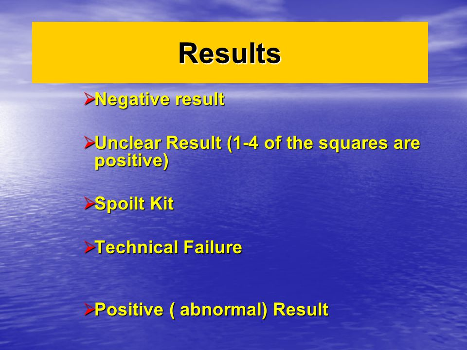 Results Negative result