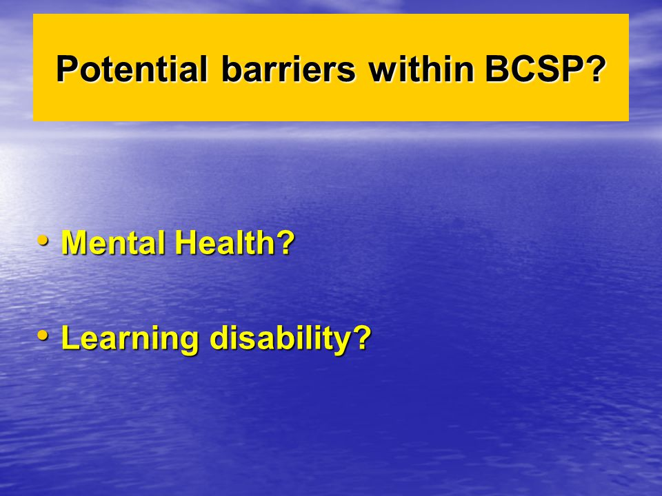 Potential barriers within BCSP