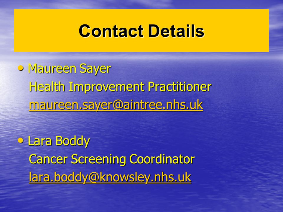 Contact Details Maureen Sayer Health Improvement Practitioner