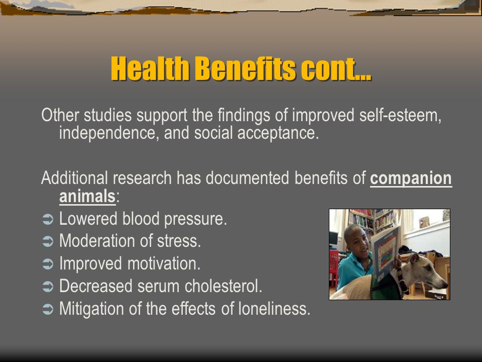 Health Benefits cont… Other studies support the findings of improved self-esteem, independence, and social acceptance.