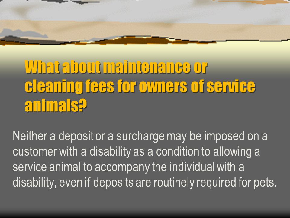 What about maintenance or cleaning fees for owners of service animals