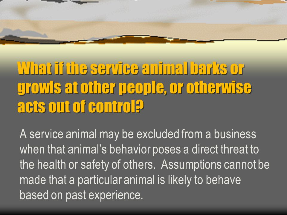 What if the service animal barks or growls at other people, or otherwise acts out of control