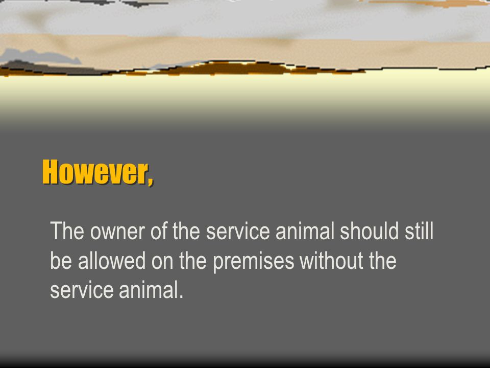 However, The owner of the service animal should still be allowed on the premises without the service animal.