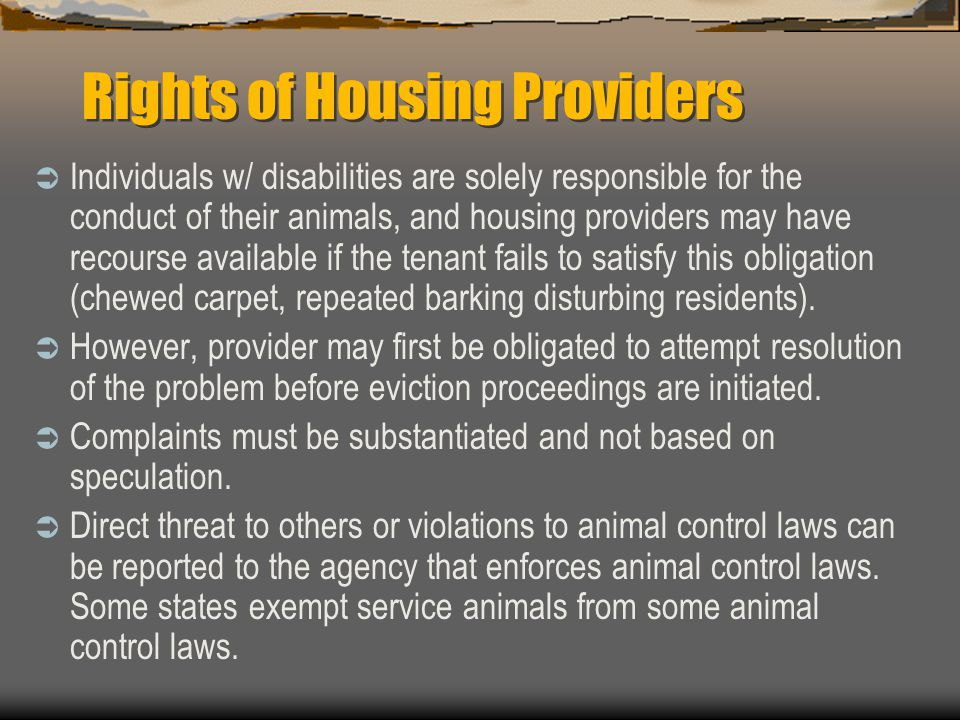 Rights of Housing Providers