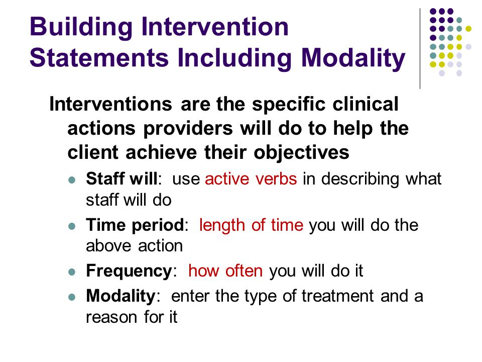 Building Intervention Statements Including Modality