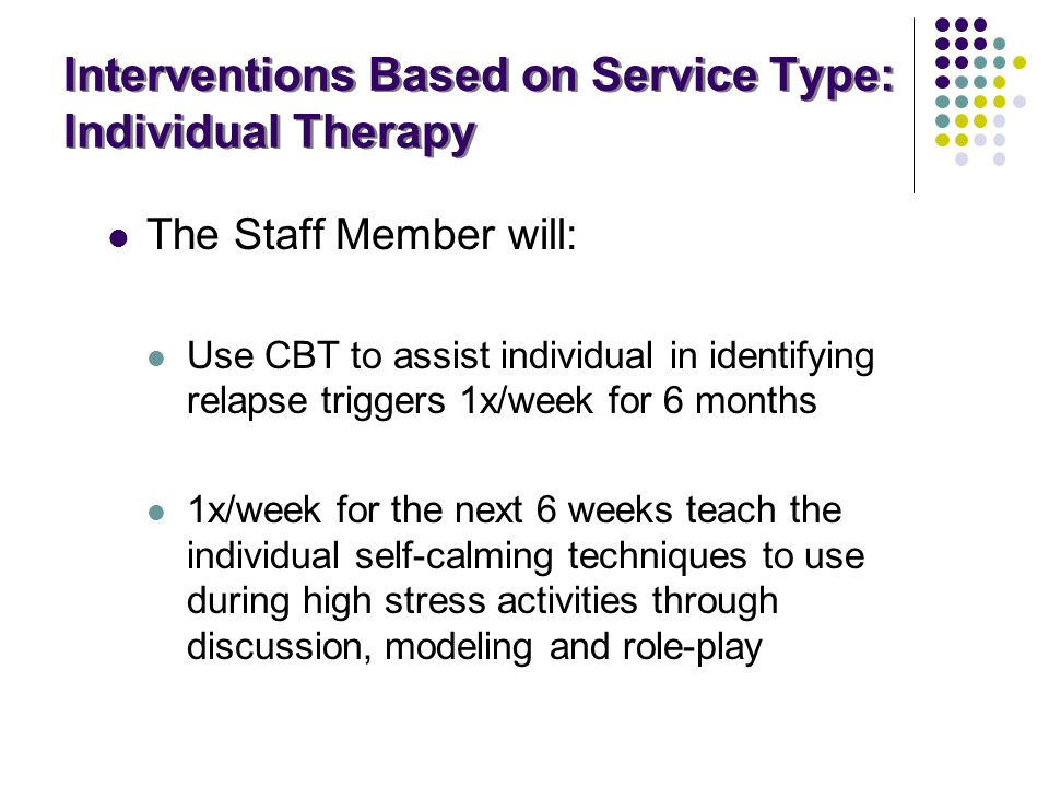 Interventions Based on Service Type: Individual Therapy