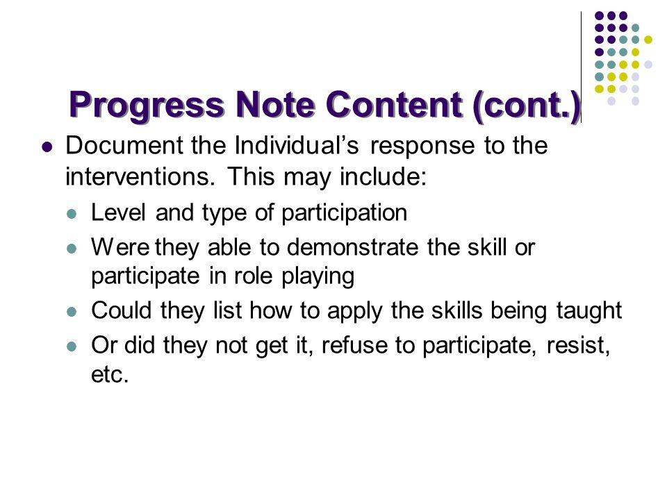 Progress Note Content (cont.)