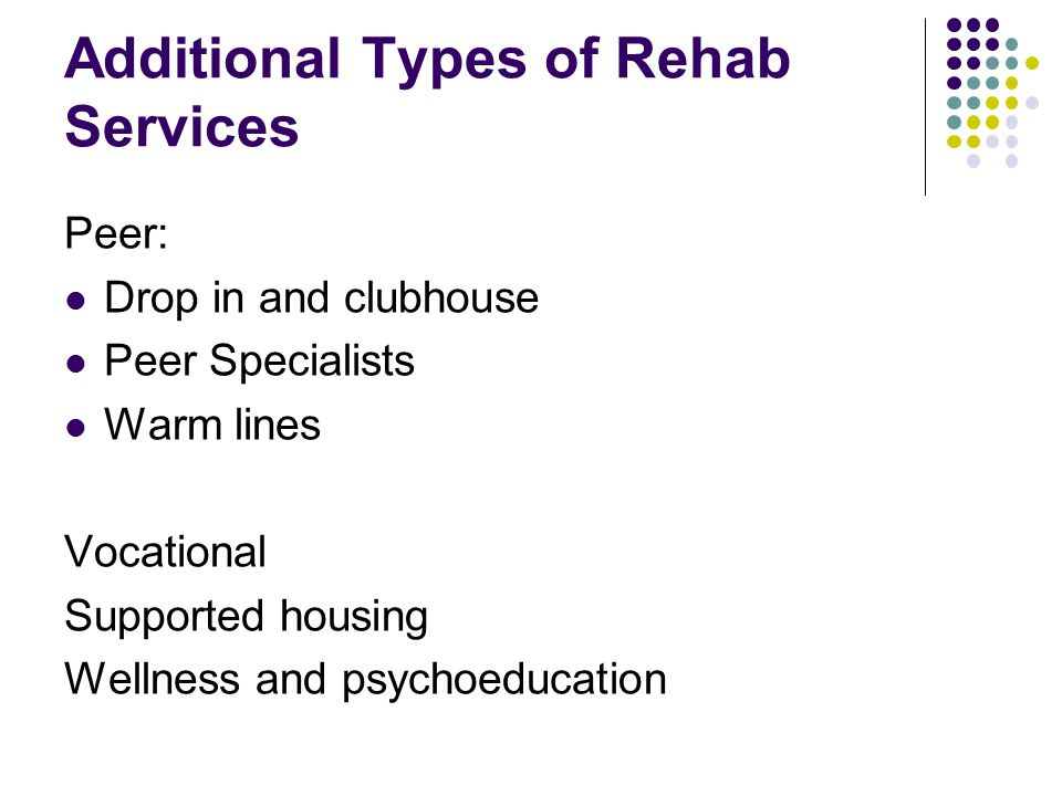 Additional Types of Rehab Services