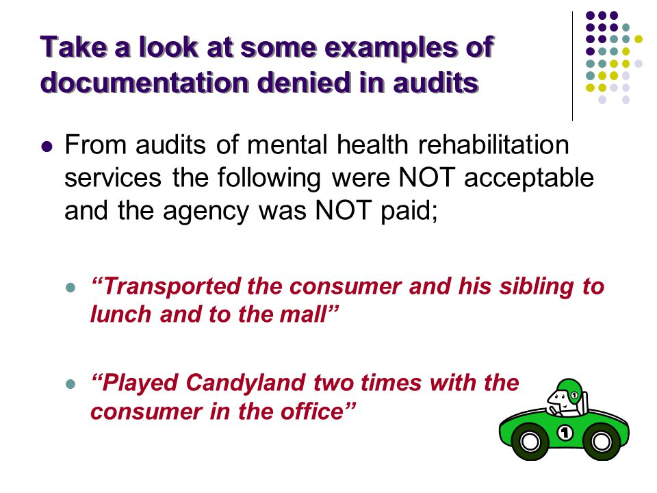 Take a look at some examples of documentation denied in audits