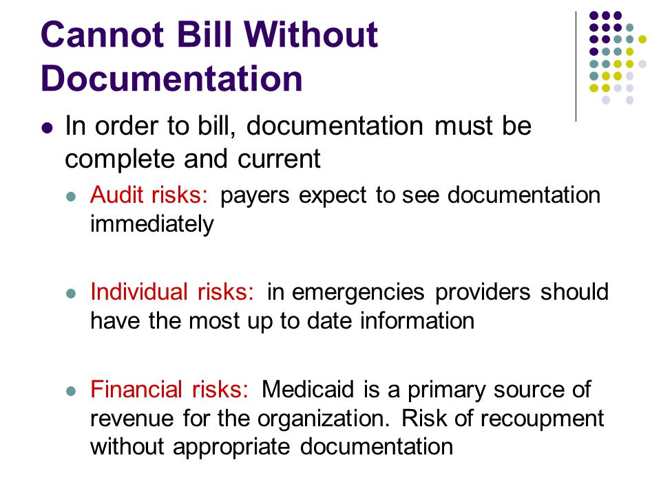 Cannot Bill Without Documentation