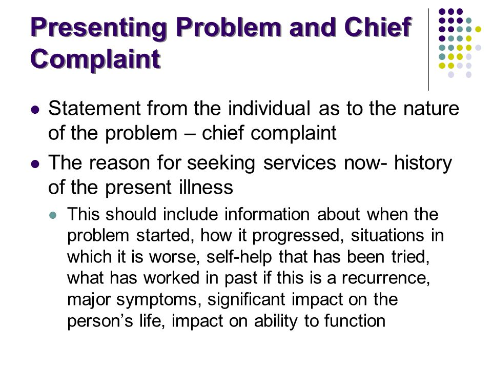 Presenting Problem and Chief Complaint