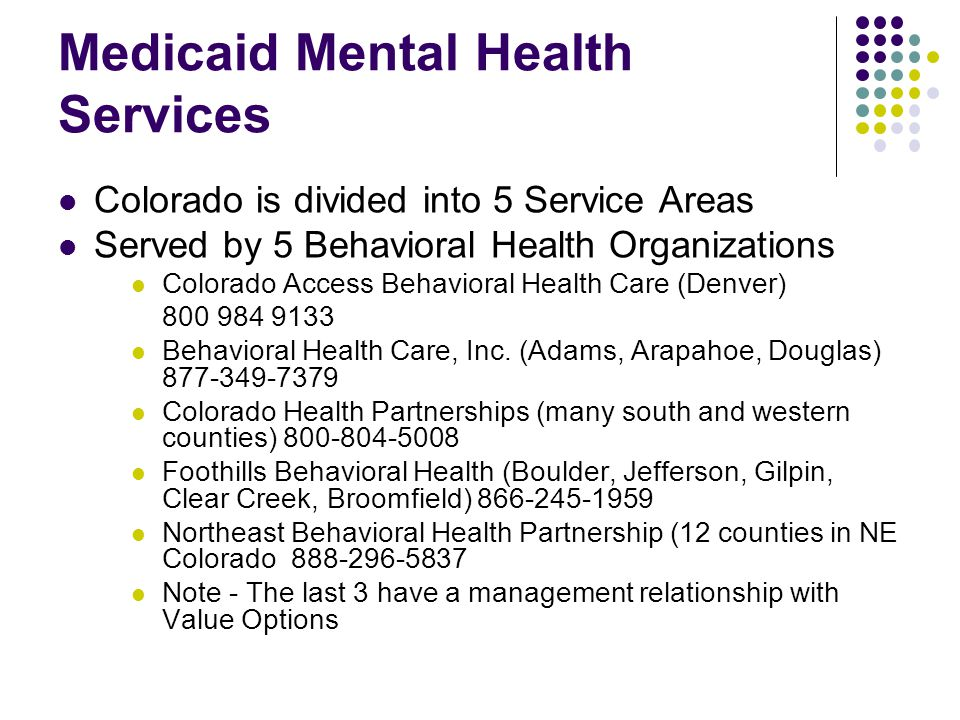 Medicaid Mental Health Services