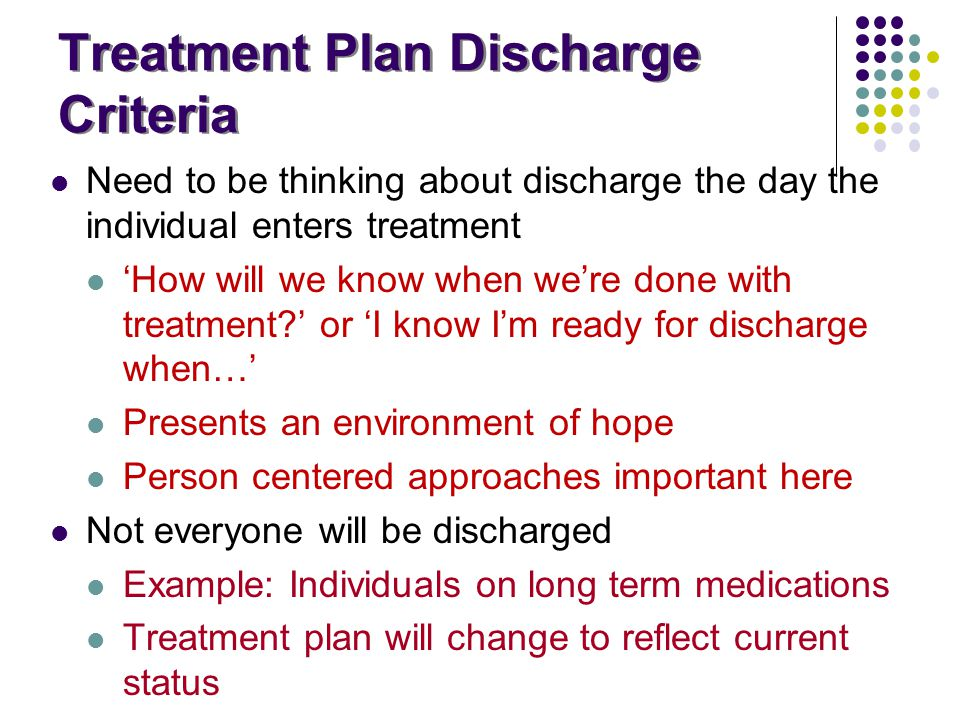 Treatment Plan Discharge Criteria