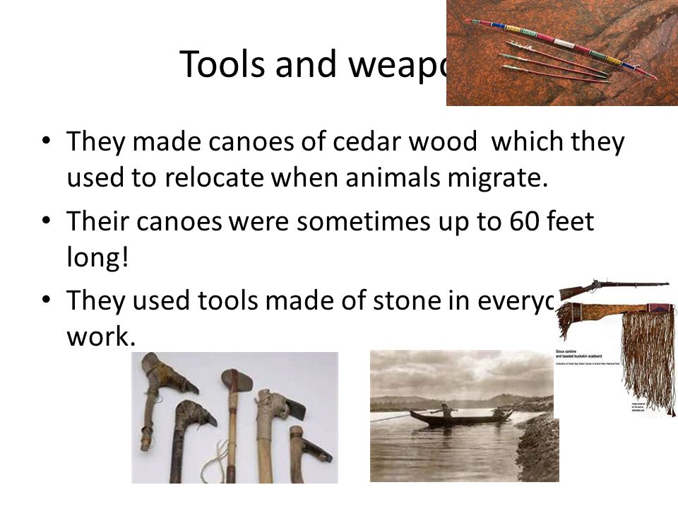 Tools and weapons They made canoes of cedar wood which they used to relocate when animals migrate.
