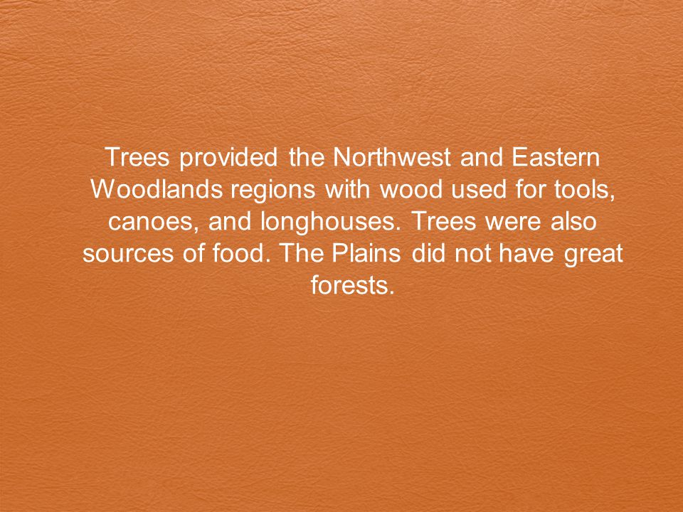 Trees provided the Northwest and Eastern Woodlands regions with wood used for tools, canoes, and longhouses.