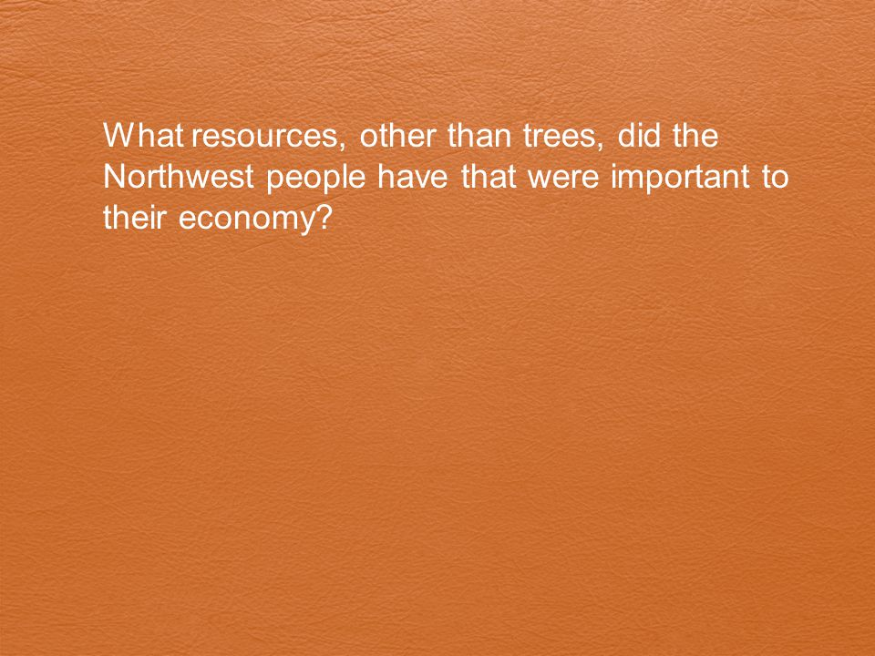 What resources, other than trees, did the Northwest people have that were important to their economy
