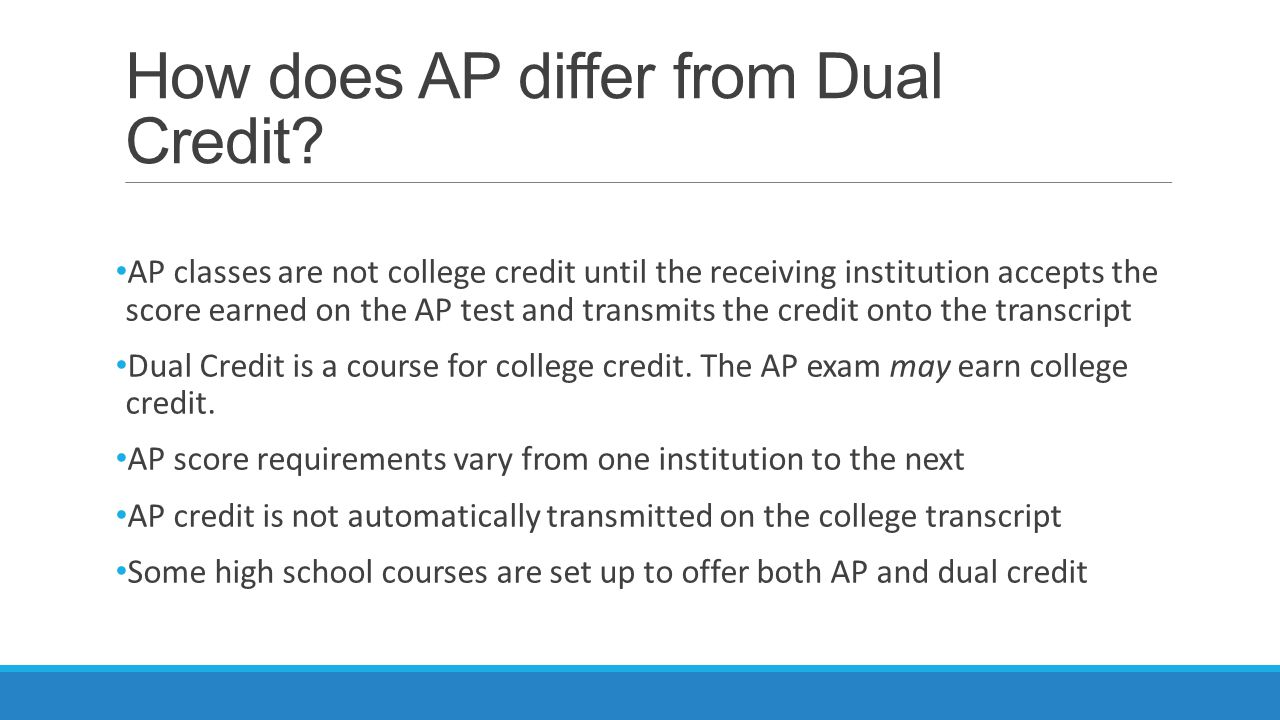 How does AP differ from Dual Credit