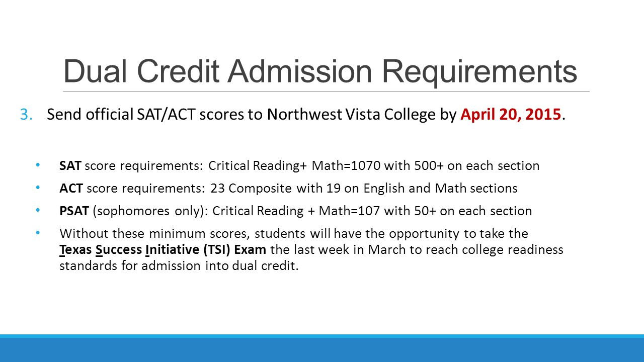 Dual Credit Admission Requirements