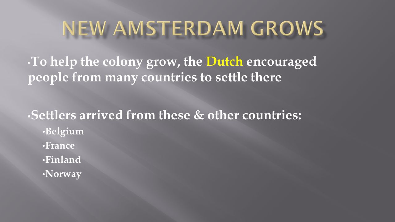New Amsterdam Grows To help the colony grow, the Dutch encouraged people from many countries to settle there.