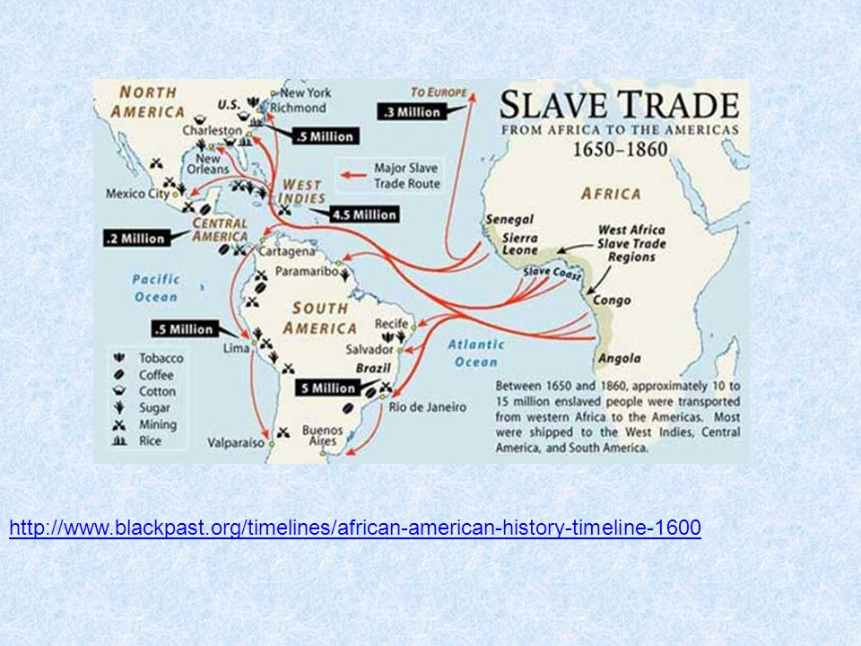 http://www.blackpast.org/timelines/african-american-history-timeline-1600