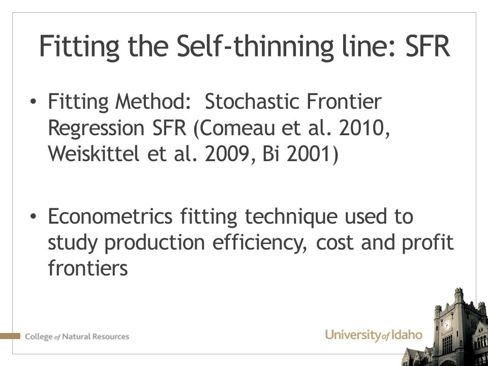 Fitting the Self-thinning line: SFR