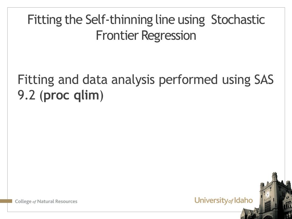 Fitting the Self-thinning line using Stochastic Frontier Regression
