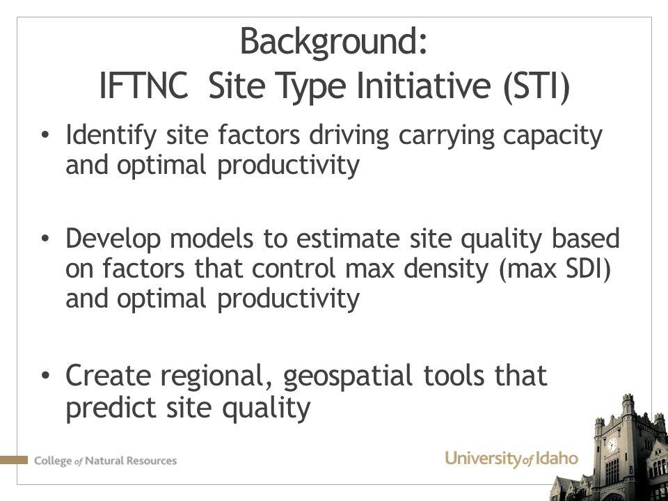 Background: IFTNC Site Type Initiative (STI)