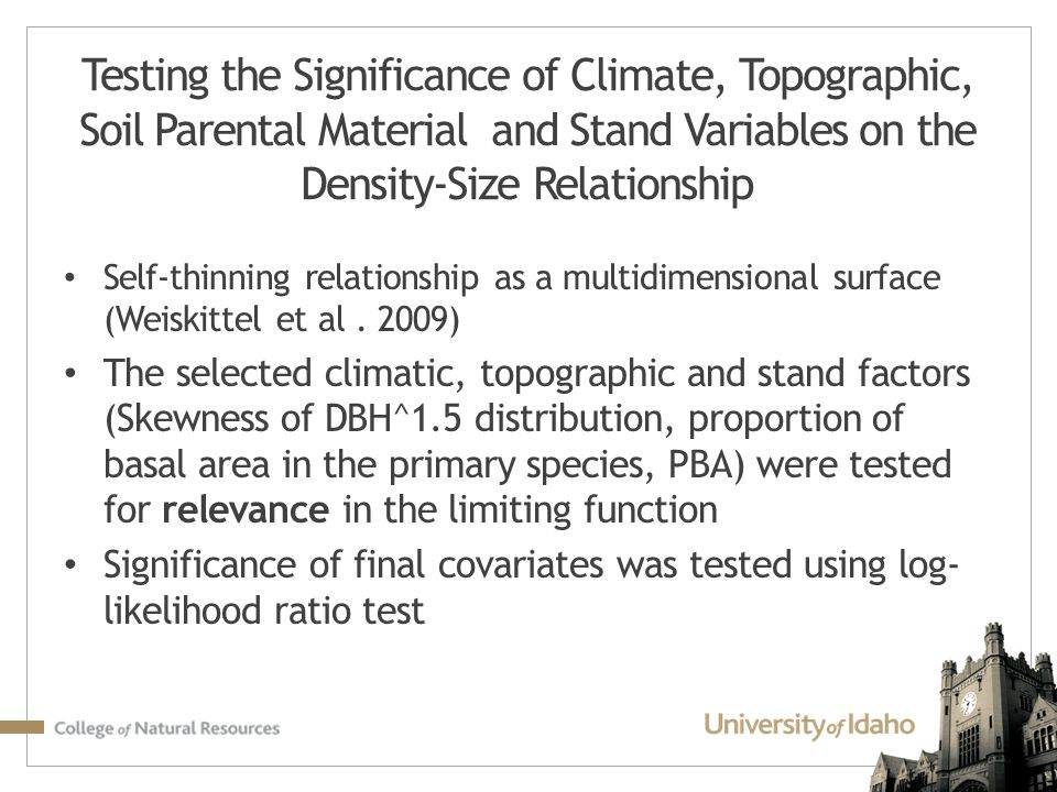 Testing the Significance of Climate, Topographic, Soil Parental Material and Stand Variables on the Density-Size Relationship
