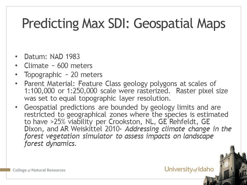 Predicting Max SDI: Geospatial Maps