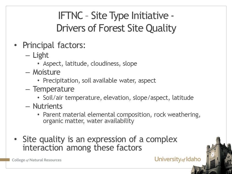 IFTNC – Site Type Initiative - Drivers of Forest Site Quality