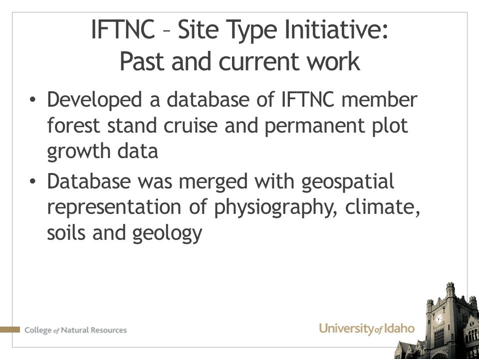 IFTNC – Site Type Initiative: Past and current work