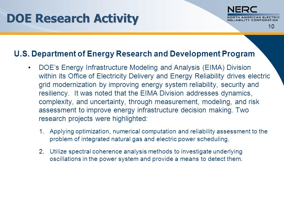 DOE Research Activity 10. U.S. Department of Energy Research and Development Program.