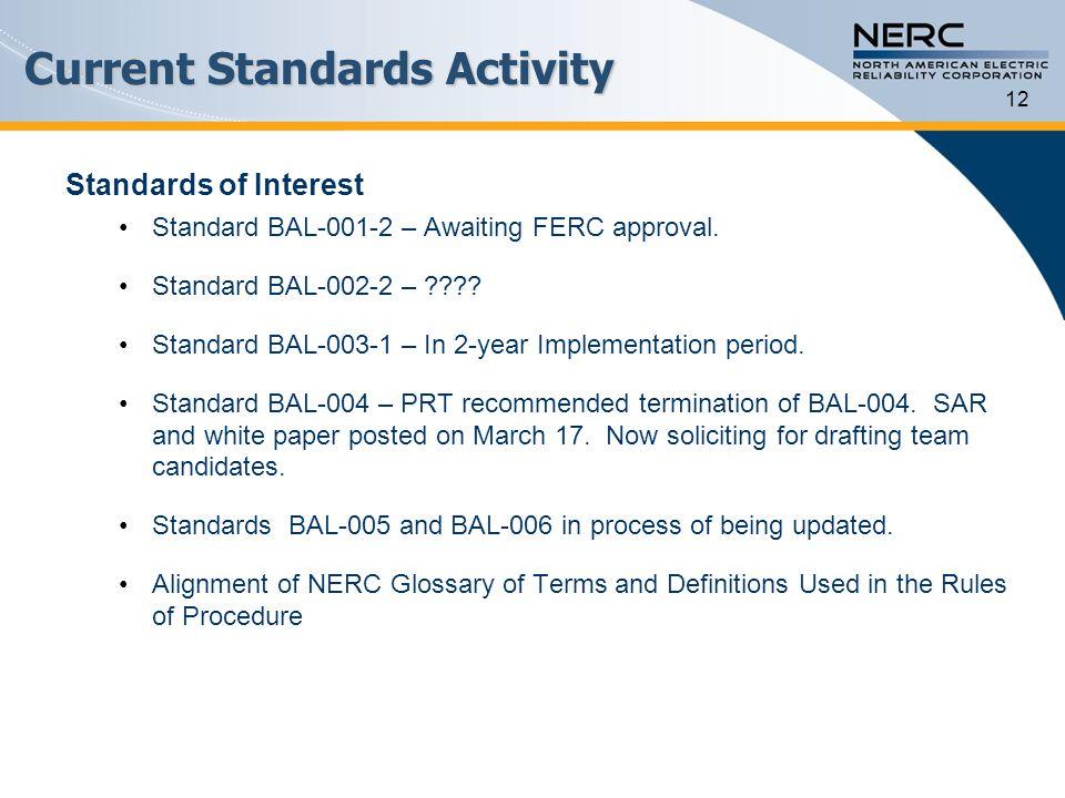 Current Standards Activity