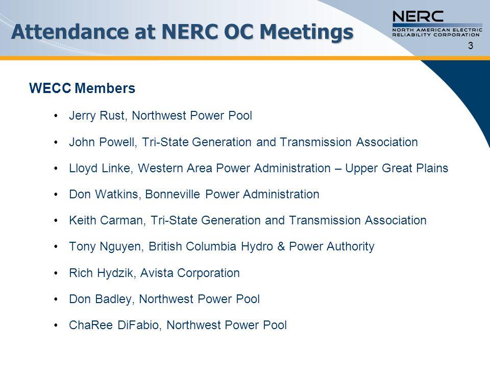 Attendance at NERC OC Meetings