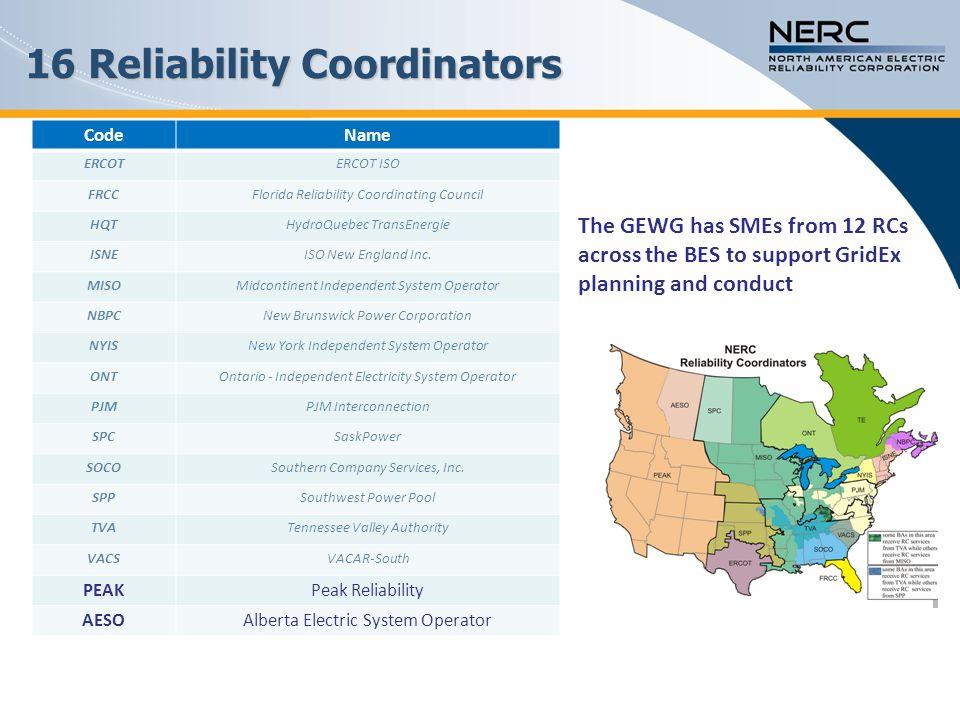16 Reliability Coordinators
