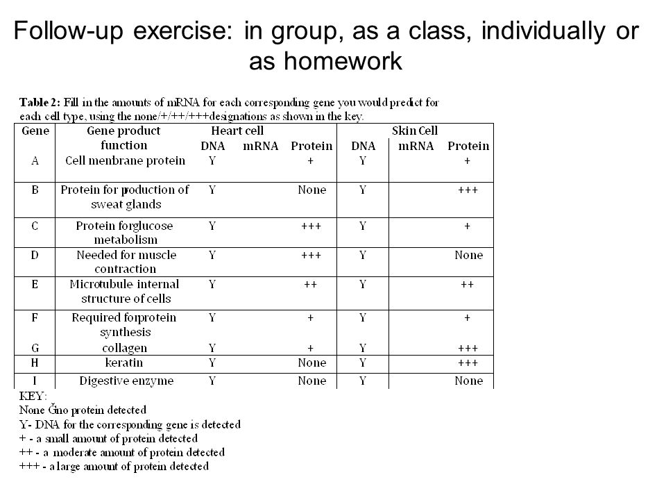 Follow-up exercise: in group, as a class, individually or as homework